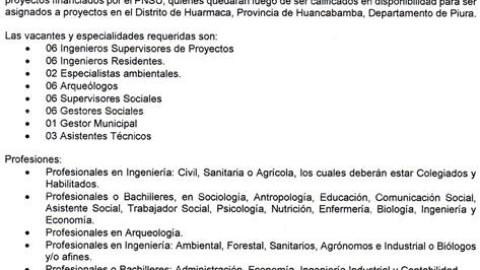 Convocatoria para Sociólogos (Piura) – Programa Nacional de Saneamiento Urbano (PNSU)