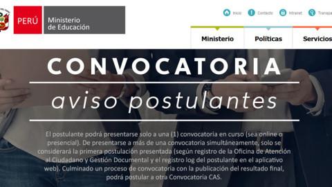 CONVOCATORIA CAS MINEDU – 204 plazas en sede administrativa