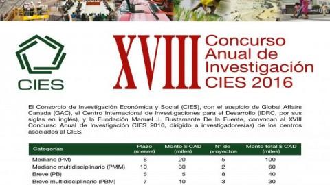CONVOCATORIA: XVIII Concurso Anual de Investigación CIES 2016