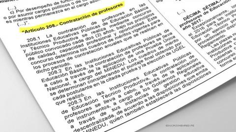 CONTRATO DOCENTE 2017: D. S. N° 011-2016-MINEDU que Modifica artículos y disposiciones para la Contratación de Maestros y Auxiliares de Educación – MINEDU