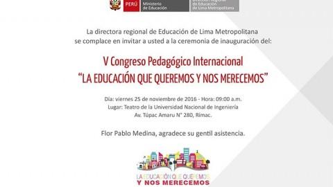 """DRELM invita al V Congreso Pedagógico Internacional """"La educación que queremos y nos merecemos"""""""