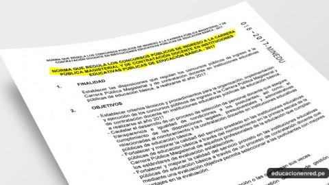 MINEDU Publicó Norma Técnica R.S.G. Nº 018-2017-MINEDU «Norma que regula los Concursos Públicos de Nombramiento Docente y de Contratación Docente 2017»