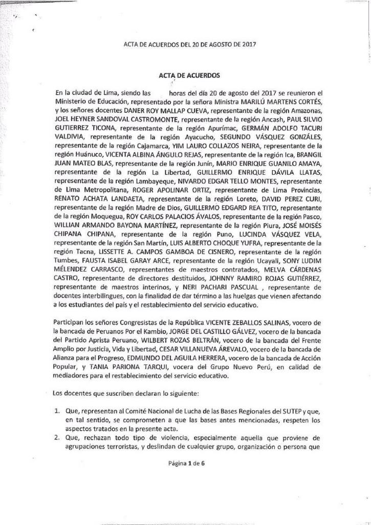 Pre acta MINEDU, Congresistas y Comites de Lucha - 20 de agosto (1)