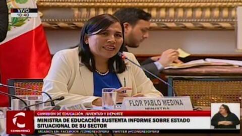 ¿Qué temas destacaron en la exposición de ministra Flor Pablo ante comisión de Educación?